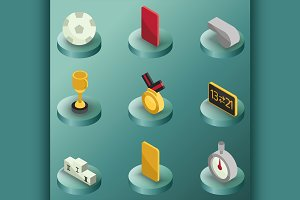 Football color isometric icons