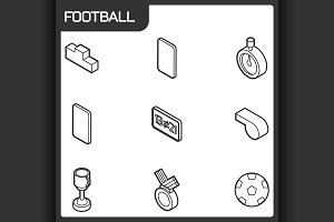 Football outline isometric icons