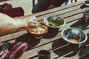 Snacks, nachos and guacamole on a sunny day