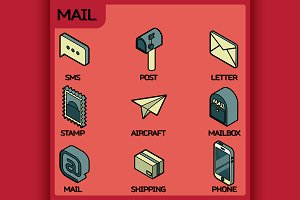 Mail color outline isometric icons