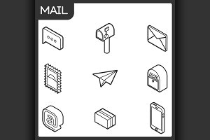 Mail outline isometric icons