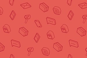 Mail outline isometric pattern