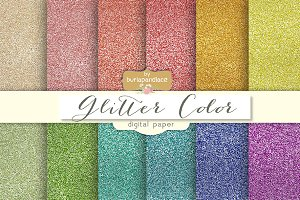 Glitter color digital paper