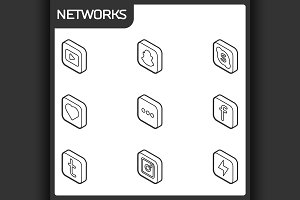 Social network outline isometric