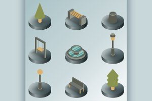 Park color isometric icons