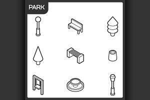 Park outline isometric icons