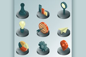 Startup color isometric icons