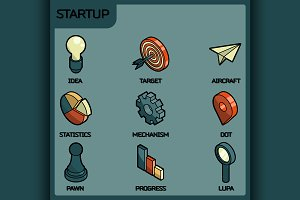 Startup color outline isometric icon
