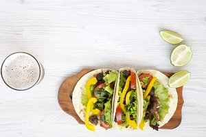 Beef taco on the board with