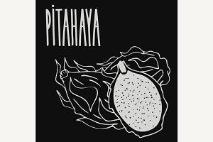 Chalkboard ripe pitaya or pitahaya
