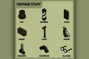 Vintage stuff color outline