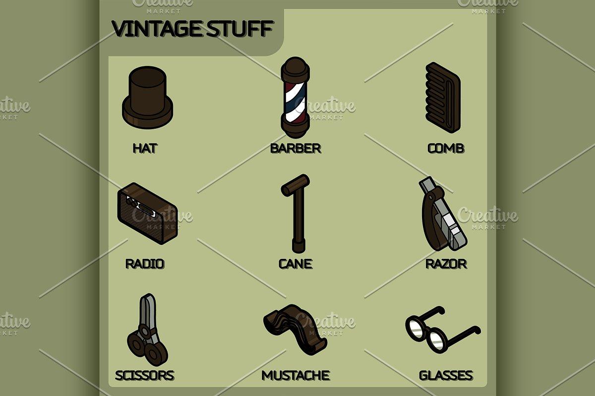 Vintage stuff color outline ~ Illustrations ~ Creative Market