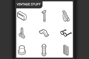 Vintage stuff outline isometric icon