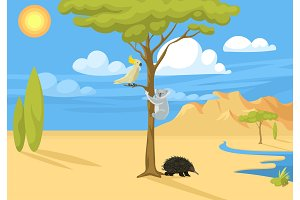 Australia wild background landscape animals cartoon popular nature flat style australian native forest vector illustration.