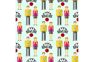 Vector colorful bowling seamless pattern background sport strike pin symbol ball skittle game equipment illustration.
