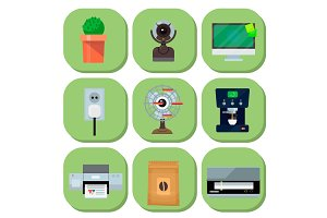 Computer office equipment technic gadgets modern workplace communication device monitor printer keyboard camera vector illustration.