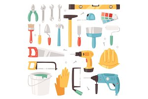 Construction equipment vector constructive tools of builder or constructor with hammer and screwdriver illustration of carpenters toolbox set isolated on white background