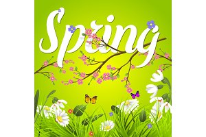Spring vector text lettering background with flower floral green text letter ornament beautiful calligraphy flower hello Spring is coming poster illustration.