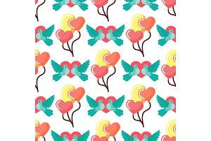 Dove birds seamless pattern background birdie vector illustration of cartoon flying animal.