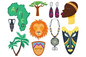Africa vector icons jungle tribal and maasai ethnic african woman ancient safari traditional travel culture illustration