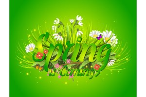 Floral spring background with text letter ornament beautiful calligraphy flower poster vector illustration.