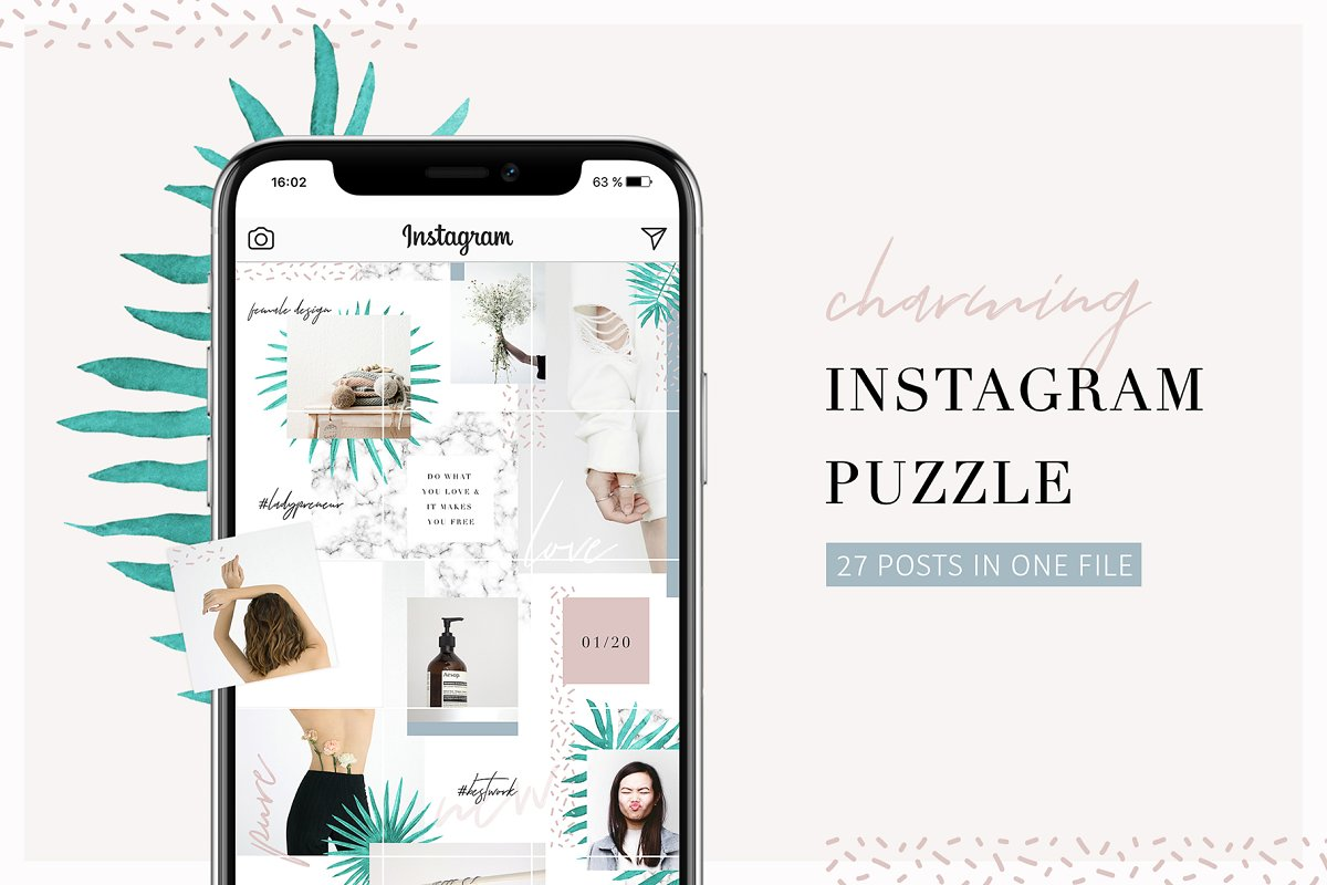 Charming Instagram Puzzle Template ~ Instagram Templates