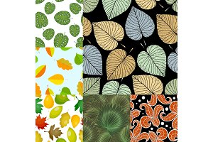 Seamless pattern with leaves background vector illustration nature design floral summer plant textile fashion tropical art.