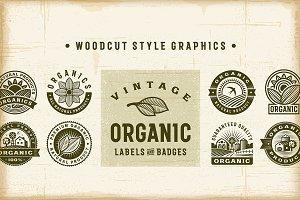 Vintage Organic Labels & Badges Set