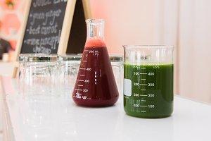 organic gluten-free juice on bar