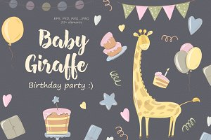 Baby Giraffe. Birthday party!