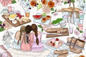 Picnic Food Fashion Girl Clip Art