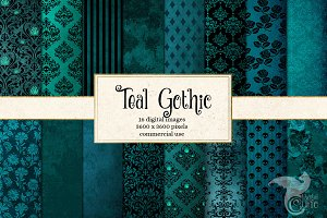 Teal Gothic Digital Paper Textures