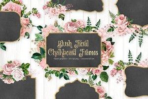 Blush Pink Floral Chalkboard Frames