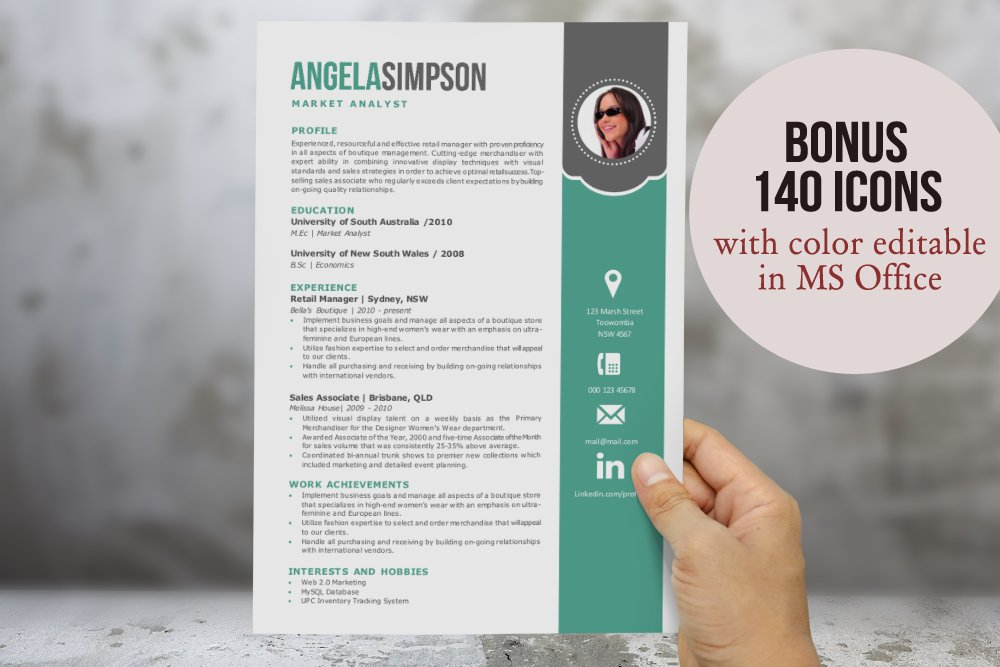 2 in 1 stylish word photo resume resume templates creative market yelopaper Choice Image