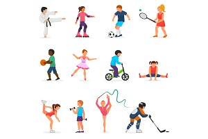 Child in sport vector boy or girl character playing hockey or soccer and children dancing or skating illustration set of kids sportive activity isolated on white background