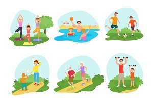 Family workout exercise vector active people mom or dad character and kids exercising together in park illustration set of man or woman with children training fitness isolated on white background