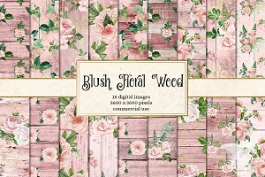 Blush Floral Wood Digital Paper