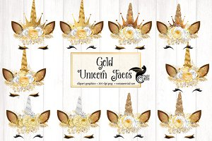 Gold Unicorn Faces Clipart