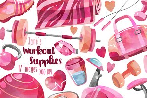 Watercolor Pink Workout Clipart