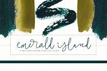 Emerald & Gold Watercolor Design Kit