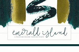 Emerald & Gold Watercolor Design Kit
