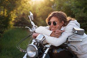 Biker and motorcycle