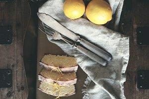 Lemon drizzle cake still life