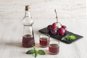 Grape liqueur in small glasses