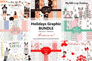 Holidays clip-arts & patterns bundle