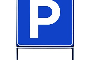 Road sign parking with space for tex