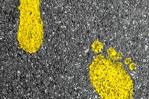 Footprints yellow feet