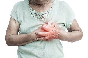 Old woman felt heart ache on white