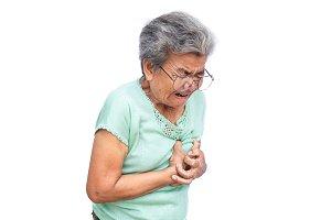 Old woman felt heart ache on white