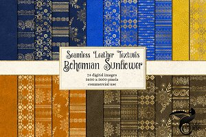 Bohemian Sunflower Digital Paper